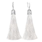 Серьги кисти с шелковой лентой белого цвета из серебра 925 пробы