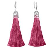 Серьги кисти с шелковой лентой розового цвета из серебра 925 пробы