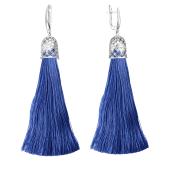 Серьги кисти с шелковой лентой синого цвета из серебра 925 пробы