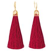 Серьги кисти с шелковой лентой рубинового цвета из серебра 925 пробы с позолотой