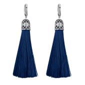 Серьги кисти с шелковой лентой темно-синего цвета из серебра 925 пробы