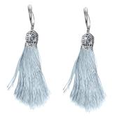 Серьги кисти с шелковой лентой серебристого цвета из серебра 925 пробы