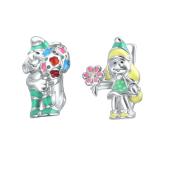 Серьги детские Гном с эмалью из серебра 925 пробы