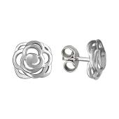 Серьги-пусеты Роза, серебро