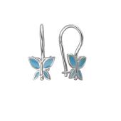 Серьги детские Бабочка с голубой эмалью, серебро
