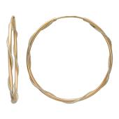 Серьги-кольца конго Диаметр 40 мм (4.0 см) Утолщенные. Нить из белого золота обвивает кольцо