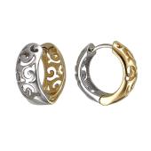 Серьги конго Дуэт с ажурным узором, желтое и белое золото