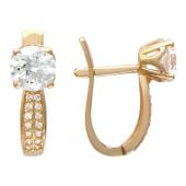 Золотые серьги, фианиты, красное золото, бриллиантовая огранка, дорожка и крупная вставка
