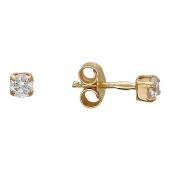 Серьги-гвоздики с фианитами, без резьбы, красное золото 585 пробы