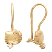 Серьги Кошка с бантиком Hello Kitty, красное золото 585 пробы