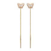Серьги-продевки Бабочки усыпаны фианитами, красное золото