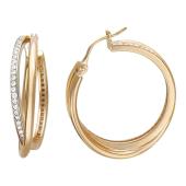 Серьги-кольца с дорожкой из фианитов, красное золото, диаметр 25 мм