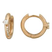 Серьги-кольца с дорожкой фианитов и круглым фианитом, красное золото