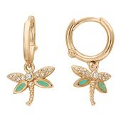 Детские серьги-кольца Стрекоза с фианитами и зеленой эмалью, красное золото