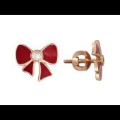 Серьги, Красный Бант с фианитом, красное золото 585 пробы