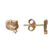 Серьги-пусеты Котики Hello Kitty с фианитами, красное золото