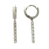 Серьги кольца с подвесками с фианитами, белое золото, 585 пробы