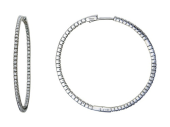 Серьги-кольца с дорожкой фианитов снаружи и внутри, белое золото 33 мм