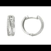 Серьги-кольца Дорожки фианитов, белое золото