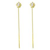 Серьги продевки Корона с фианитами, желтое золото 585 проба