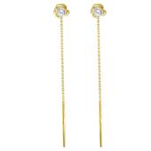 Серьги продевки Цветок с фианитом, желтое золото 585 проба