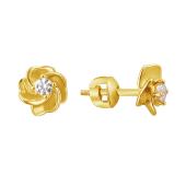Серьги пусеты Роза с фианитом из желтого цвета золота 585 пробы
