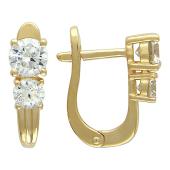 Золотые серьги, фианиты прозрачные, желтое золото, праздничные