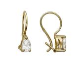 Золотые серьги, фианиты, желтое золото, фианит в форме капли