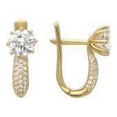 Золотые серьги, фианиты бриллиантовой огранки, желтое золото, крупная вставка и дорожка фианитов