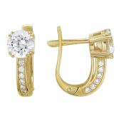 Золотые серьги, фианиты бриллиантовой огранки, желтое золото, крупная вставка и дорожка фианитов по краям