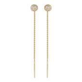 Золотые серьги, фианиты, желтое золото, окружность с фианитами на цепочке