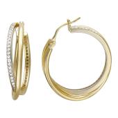Серьги-кольца с дорожкой из фианитов, желтое золото, диаметр 25 мм
