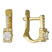 Серьги Дорожка с фианитами, желтое золото