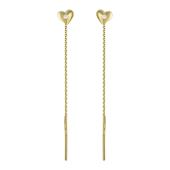 Серьги-висюльки Сердце с фианитами, желтое золото