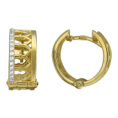 Серьги-кольца Корона с фианитами, желтое золото