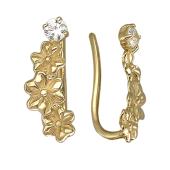 Серьги-каффы Цветы с фианитами, желтое золото