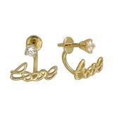 Серьги-джекеты с надписью Love и фианитами, желтое золото
