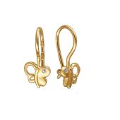 Серьги детские Бабочка с фианитами, желтое золото
