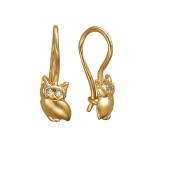 Серьги детские Сова с фианитами, желтое золото