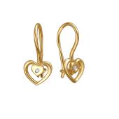 Серьги детские Сердце с фианитом, желтое золото