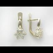 Серьги Цветок с фианитами из серебра 925 пробы