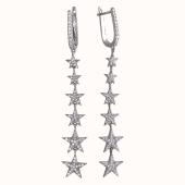 Серьги длинные Звезды с фианитами из серебра 925 пробы