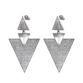 Серьги пусеты длинные Dream треугольные с фианитами, серебро