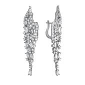 Серьги длинные Dream Крыло бабочки с фианитами, серебро