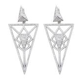 Серьги длинные Dream треугольные с геометричным узором и фианитами, серебро