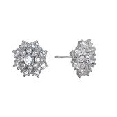 Серьги пусеты Dream Цветок с фианитами, серебро
