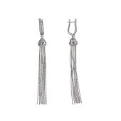 Серьги длинные Цепи с фианитами серебра 925 пробы