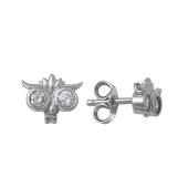 Серьги-пусеты Сова с фианитом из серебра 925 пробы