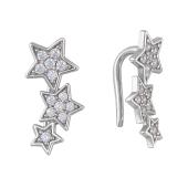 Серьги каффы Звезды с фианитами, серебро