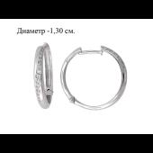 Серьги Конго с фианитами из серебра 925 пробы 13мм